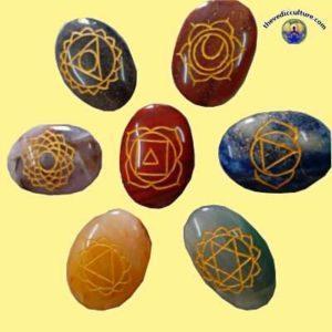 Oval 7 chakra crystals symbols