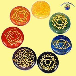 Round 7 chakra crystals symbols